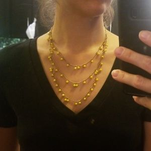 3 layered yellow ball necklace